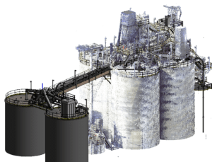 Scanned and 3D model of factory buildings